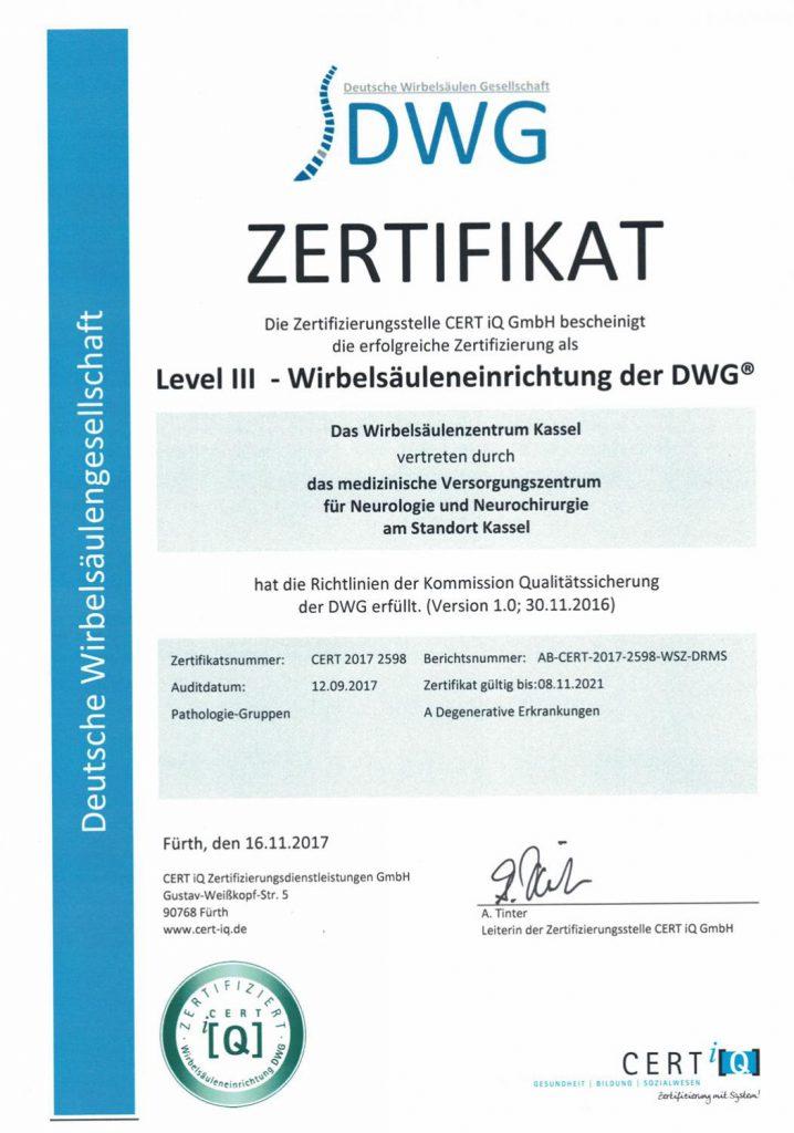 Auszeichnung: Level III Wirbelsäuleneinrichtung der DWG